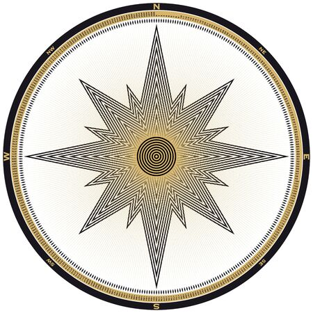 위도: Compass illustration, each of the 360 degrees marked and numbered