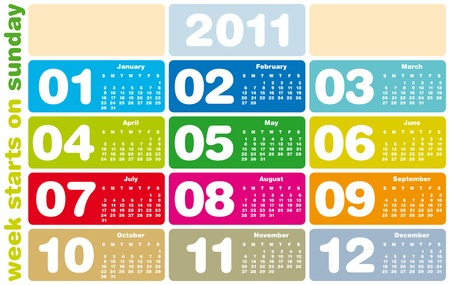 Colorful Calendar for Year 2011, week starts on Sunday Vector