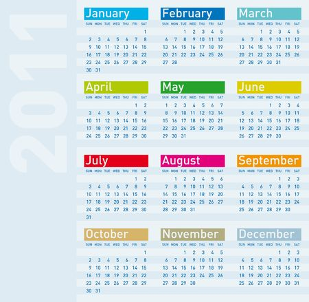 Colorful Calendar for year 2011 Stock Vector - 6845911