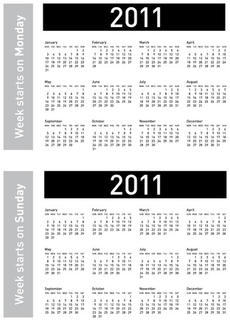começando: Simple Calendar for 2011. Both versions: week starting on Sunday and Monday, in vectors. Ilustração
