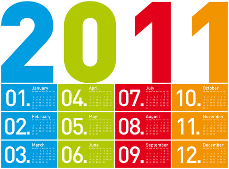 day planner: Colorful Calendar for Year 2011, week starts on Sunday.