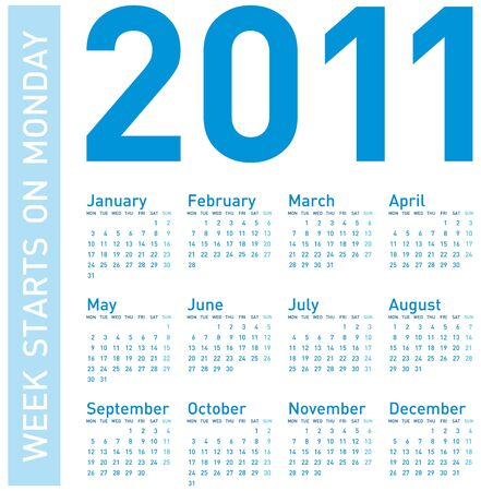 Calendar for Year 2011, week starts on Monday Vector