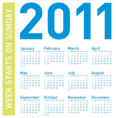 schedulers: Simple Blue Calendar for year 2011, week starts on Sunday.