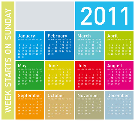 Colorful Calendar for Year 2011, week starts on Sunday. Stock Vector - 6845910