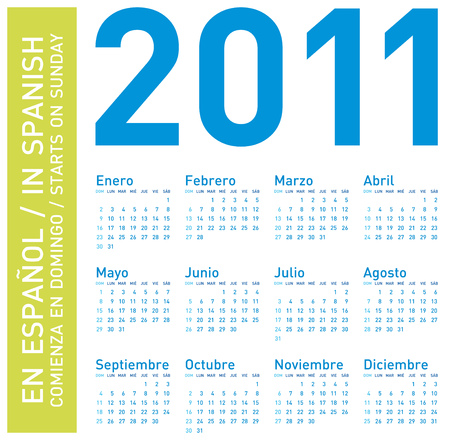 Simple Blue Calendar for year 2011, in Spanish. week starts on Sunday.