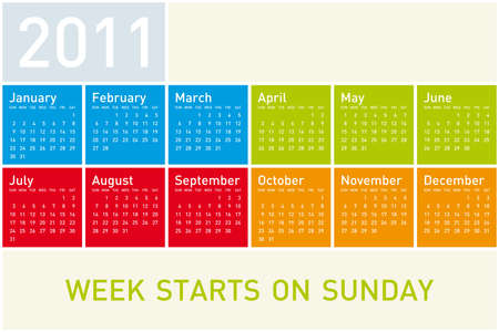 Colorful Calendar for Year 2011, week starts on Sunday. Vector