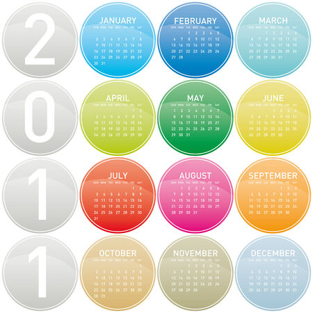 Colorful Calendar for year 2011 in a glossy circles theme.  Vector