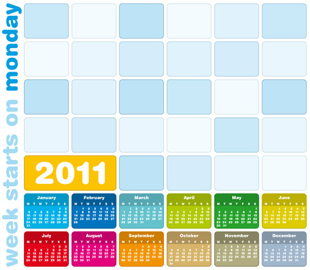 schedulers: Colorful Calendar for Year 2011, week starts on Monday.