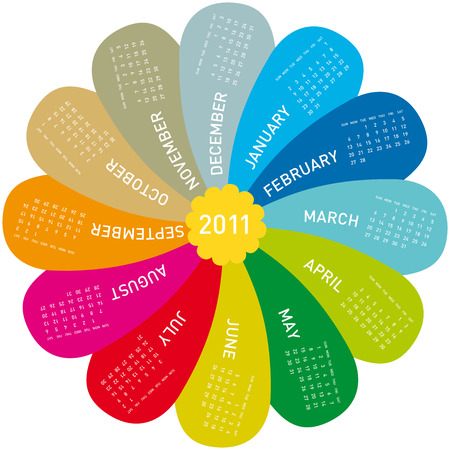 colorful calendar for 2011. flower design, each month in a petal. Week starts on Sunday Vector