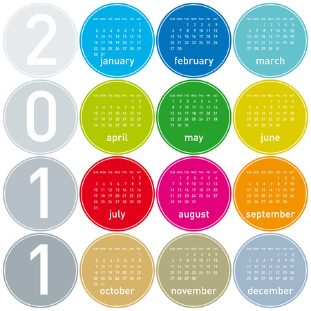 Colorful Calendar for year 2011 in a circles theme. Stock Vector - 7164604