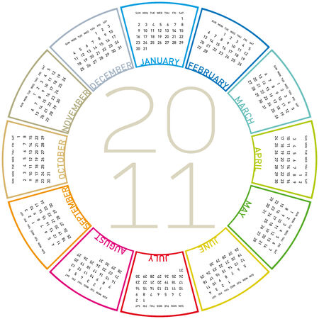 schedulers: colorful calendar for 2011. Circular design. Week starts on Sunday Illustration