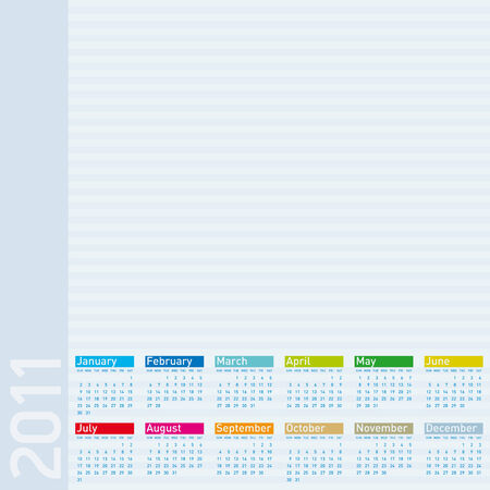 daily planner: Colorful Calendar for year 2011.