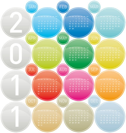 Colorful Calendar for year 2011 in a circles theme. Week starts on Sunday. Vector
