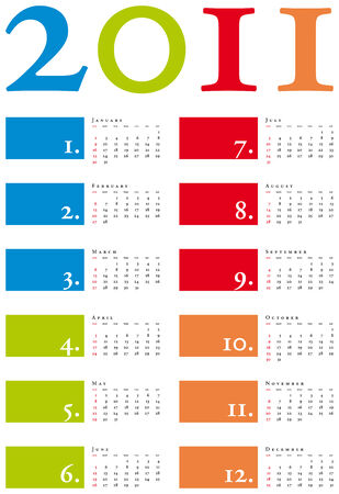 scheduler: Colorful and elegant Calendar for year 2011 in vector format