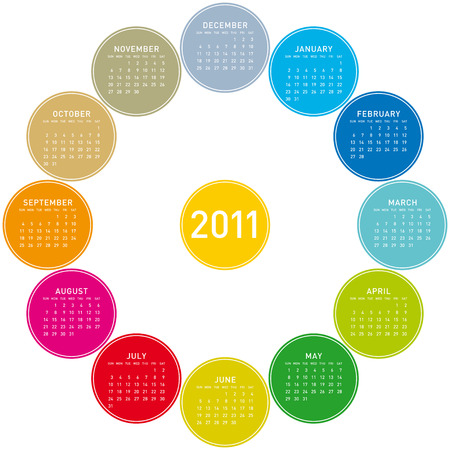 colorful calendar for 2011. Circular design. Week starts on Sunday Vector