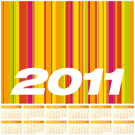 Colorful Calendar for year 2011. Week starts on Sunday. Vector