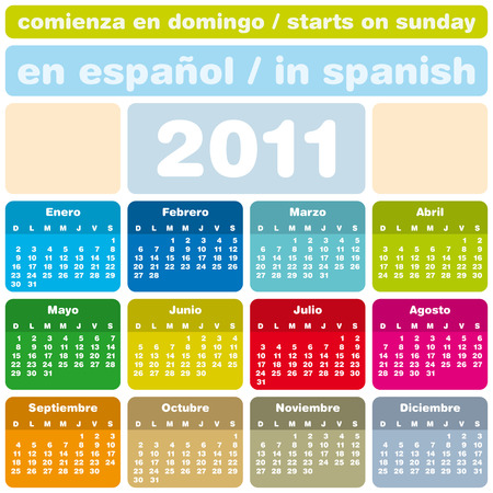 ol: Colorful Calendar for Year 2011, in Spanish. Week starts on Sunday.