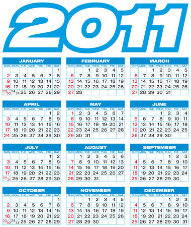 Blue Calendar for 2011. American style (Week starts on Sunday). Vector