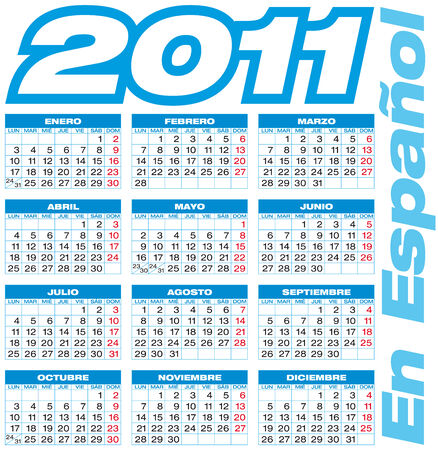 schedulers: Blue Calendar for 2011 in Spanish. European style (Week starts on Monday). Illustration