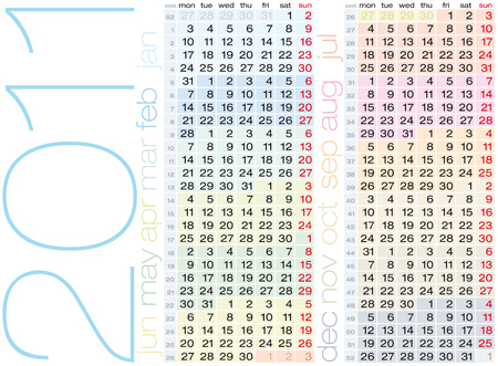 Colorful Calendar for year 2011 in format. Weeks numbered, and start on Monday Stock Vector - 7637789