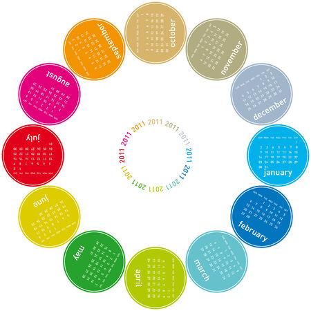 colorful calendar for 2011. Circular design. Week starts on Sunday Vector