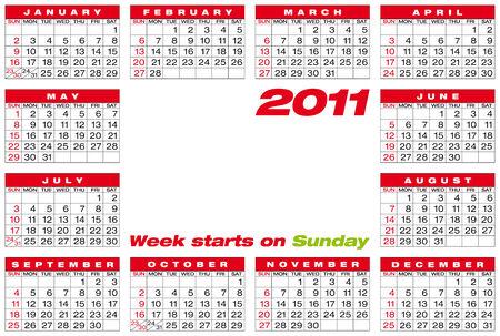 Calendar for year 2011 Stock Vector - 7765451