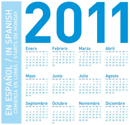 scheduler: Simple Blue Calendar for year 2011, in Spanish. Week starts on Monday