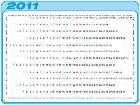 Calendar for 2011. Numbers within a grid. Horizontal design. Stock Vector - 7765454