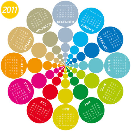 colorful calendar for 2011. Circular design. Week starts on Sunday Stock Vector - 7765458