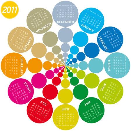 colorful calendar for 2011. Circular design. Week starts on Sunday Stock Vector - 7765458