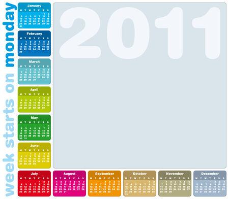 Coloridos calendario para el a�o 2011, la semana empieza el lunes.  Foto de archivo - 7920948