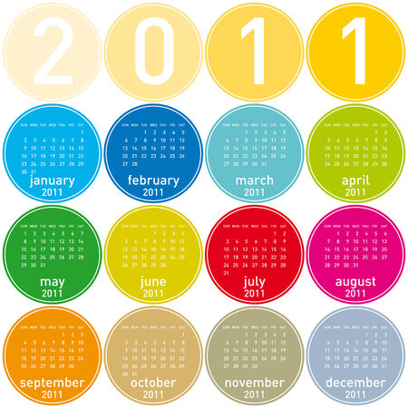 Colorful Calendar for year 2011 in a circles theme Stock Vector - 7920951