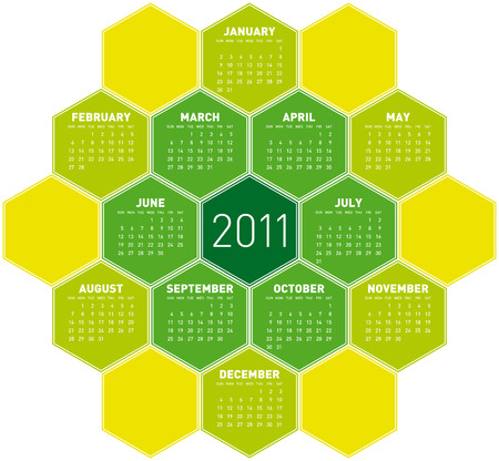 Green Calendar for year 2011 in an hexagonal pattern Stock Vector - 7920949