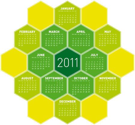 Green Calendar for year 2011 in an hexagonal pattern Stock Vector - 7920949