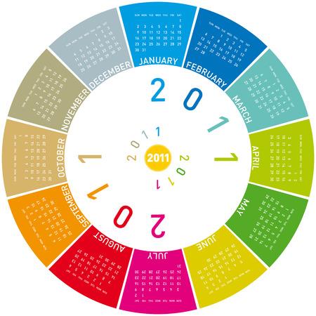 colorful calendar for 2011. Circular design. Week starts on Sunday Stock Vector - 7913710