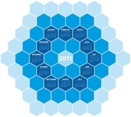 Blue Calendar for year 2011 in an hexagonal pattern Vector