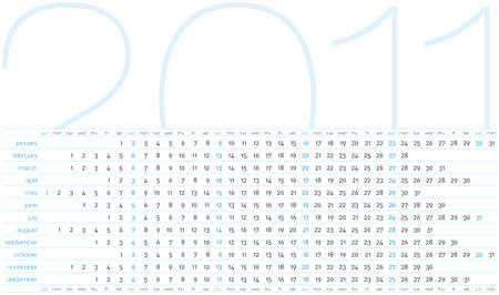 Calendar for 2011. Numbers within a grid. Horizontal design.  Stock Vector - 8068832