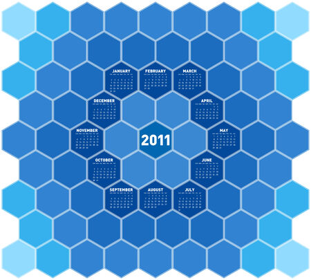 hexagonal: Blue Calendar for year 2011 in an hexagonal pattern. in vector format Illustration