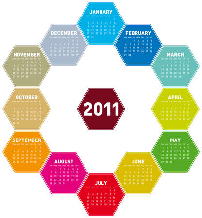 Colorful Calendar for year 2011 in an hexagonal pattern. in vector format Stock Vector - 8068835