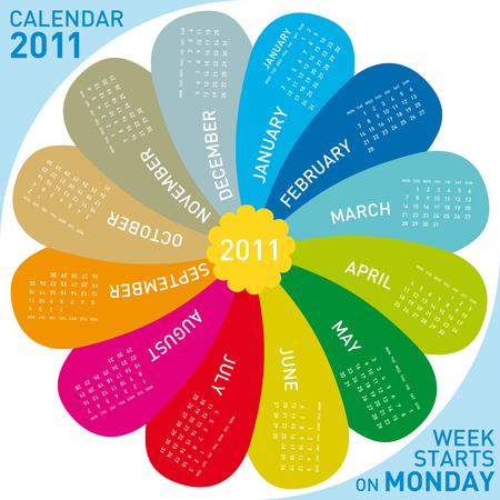 colorful calendar for 2011. flower design, each month in a petal. Week starts on Monday Illustration