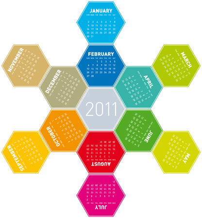 Colorful Calendar for year 2011 in an hexagonal pattern Stock Vector - 8141444