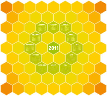 Orange Calendar for year 2011 in an hexagonal pattern Stock Vector - 8141454