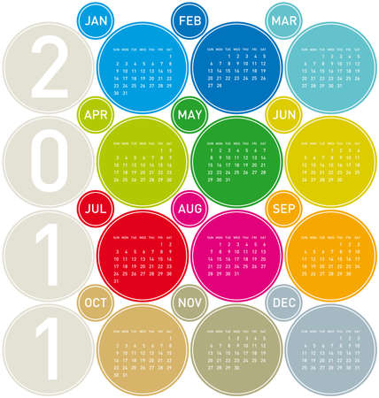 Colorful Calendar for year 2011 in a circles theme Stock Vector - 8274659
