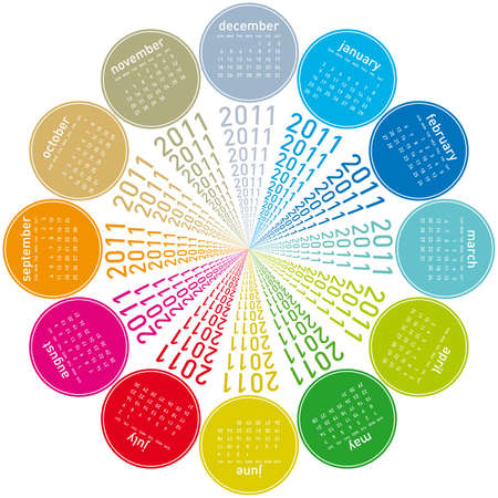 colorful calendar for 2011. Circular design. Week starts on Sunday Stock Vector - 8274665