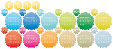 Colorful Calendar for year 2011 in a circles theme Stock Vector - 8274672