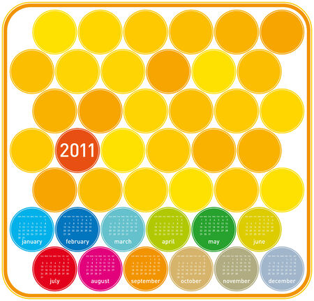 Colorful Calendar for year 2011 in a circles theme. in vector format. Stock Vector - 8337523