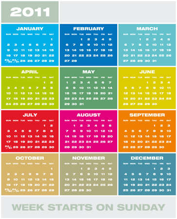 Colorful Calendar for year 2011 in vector format. Week starts on Sunday Stock Vector - 8337518
