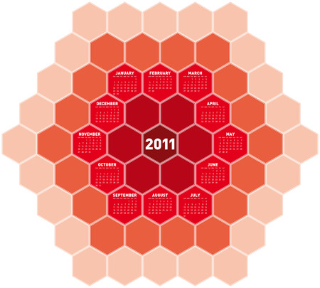 Red Calendar for year 2011 in an hexagonal pattern. in vector format Stock Vector - 8337521