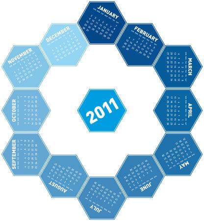 Blue Calendar for year 2011 in an hexagonal pattern. rotating design,  in vector format Stock Vector - 8337520