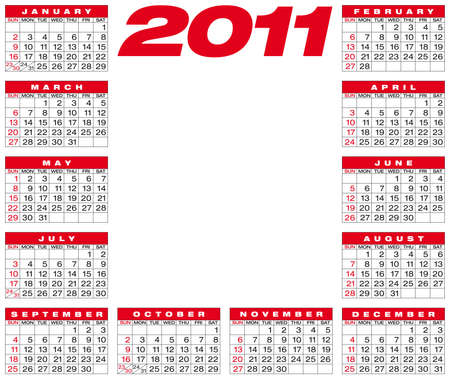 Calendar for year 2011,  American style (Week starts on Sunday). Vector